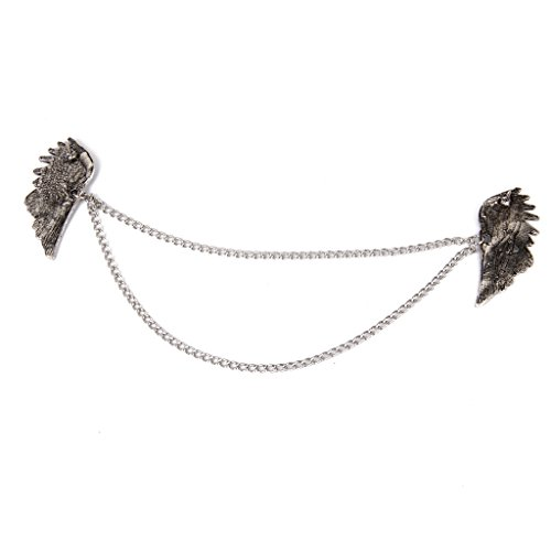 Angel Wings Dangle Chain Collar Tip Shirt Stud Brooch with Rhinestones Silver by Generic (Image #2)
