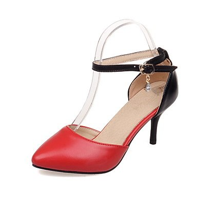 LvYuan Mujer Sandalias PU Primavera Otoño Paseo Hebilla Tacón Stiletto Blanco Negro Rojo 7'5 - 9'5 cms Black