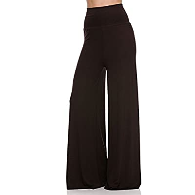 2LUV Plus Women's High Waisted Plus Palazzo Pants Dark Green 2XL: Clothing