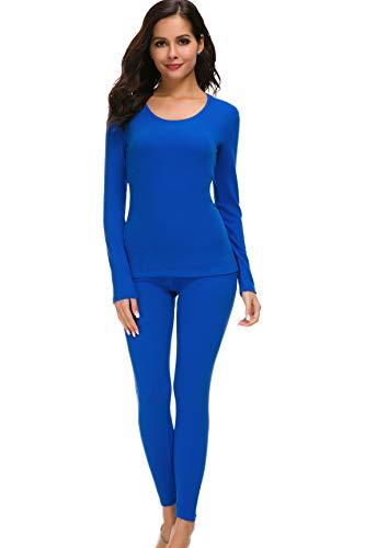 HieasyFit Women's Mid-Weight Cotton Thermal Underwear 2pc Winter Base Layer Set Blue S