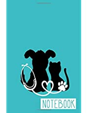 Notebook: Veterinarian, Vet Tech, Veterinary Office Staff College Ruled Lined Notes Journal - Dog and Cat with Paw Print Stethoscope