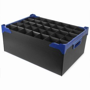 Superb BLACK GLASS STORAGE CONTAINERS PACK OF 5 HOLDS 24 X 12oz GLASSES