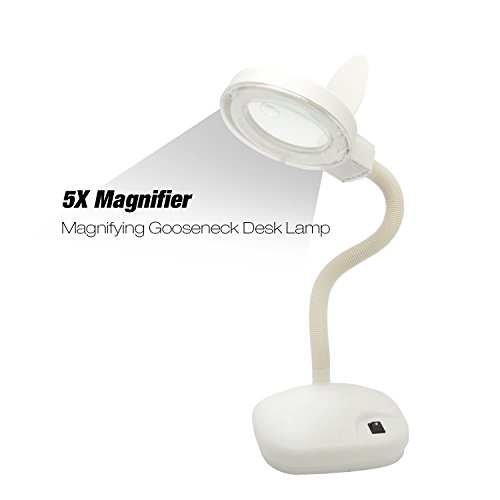 ETOPLIGHTING 5X 10x Magnifying Desk Lamp Table Top Adjustable Flexible Gooseneck for Hobbies, Crafts, Reading Small Print, Jewelry Design, 10W Daylight White, APL1986