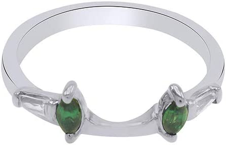 Marquise & Baguette Simulated Emerald & White Cubic Zirconia Enhancer Guard 14K Gold