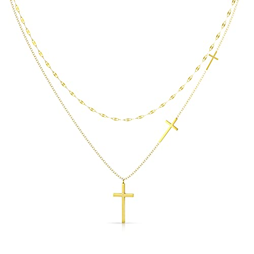 UHIBROS Cross Necklace For Women,Plated 18k Gold Layered Necklaces Dainty Cross Pendant Layering Trendy Necklaces For Teen Girls Jewelry Gift