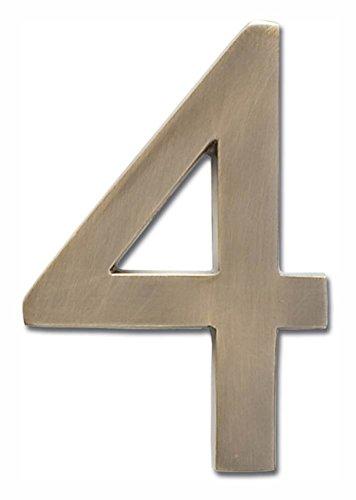 [해외]골동품 황동 마감 (4 in.) (4.7 in./Floating House Number  4  in Antique Brass Finish (2.7 in. W x 4 in. H (0.17 lbs.))