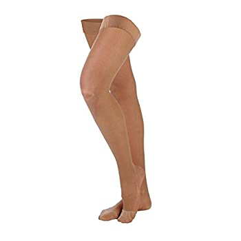 VenoSoft 20-30 mmHg Thigh with Silicone Top Closed Toe Color: Beige, Size: Small