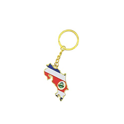 Country Shape Flag Metal Keychain (Costa Rica)
