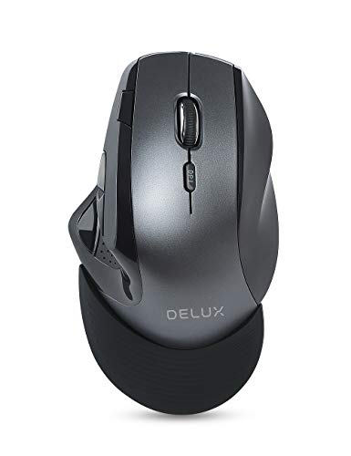(DeLUX Wireless Ergonomic Mouse with USB Receiver, 2.4 G Optical Mouse with 9 Buttons, 4 Adjustable DPI (800/1200/1600/2400 DPI) and Removable Wrist Rest for Laptop PC Computer (M910GB-Black/Grey))