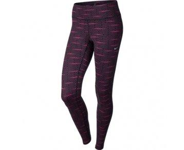 Nike Womens Dri-fit Epic Run Printed Running Tights Leggins (X-Small, Black/Volt)