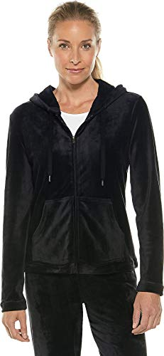 Coolibar UPF 50+ Women's Seaside Velour Hoodie - Sun Protective (X-Large- - Velour Black Jacket Zip