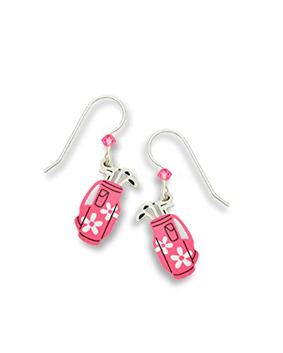 Pink Daisy Golf Bag Earrings Made in USA by Sienna Sky si1178 (Pink Ladies Bowling Bag)