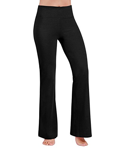 ODODOS Power Flex Boot-Cut Yoga Pants Tummy Control Workout Non See-Through Bootleg Yoga Pants,Black,Large