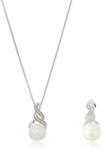 Sterling Silver Cultured Freshwater Pearl of 8 and 9mm with White Diamond Accent Earring and Pendant Necklace, 18'' by Amazon Collection