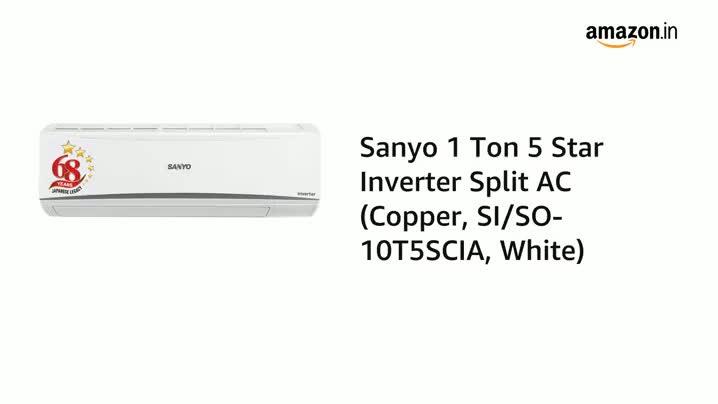 Sanyo 1 Ton 5 Star Inverter Split AC (Copper, 2020 Model, SI/SO-10T5SCIC White)