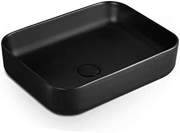 洗面ボウル 現代の磁器の上カウンターキャビネット洗面化粧台用マットブラックセラミックカウンターシンク 洗面器 (Color : Black, Size : 50x40x13.5cm)