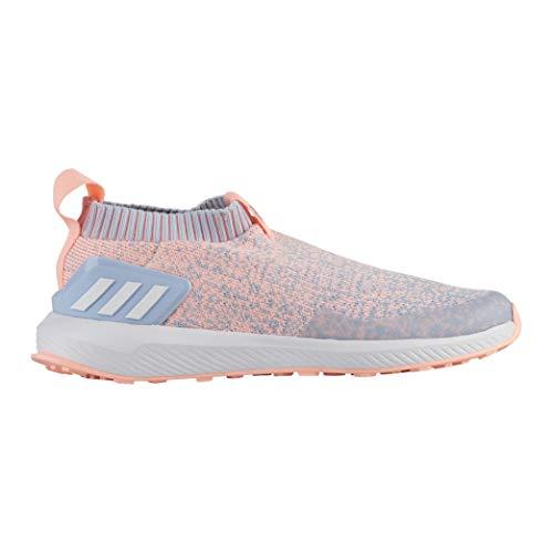 (adidas Unisex RapidaRun Laceless Knit Running Shoe, aero Blue/White/Clear Orange, 1 M US Little)