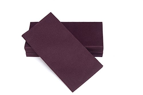 "SimuLinen Dinner Napkins – Disposable, PLUM, Cloth-Like – Elegant, yet Heavy Duty Soft, Absorbent & Durable – 16""x16"" – Box of (Purple And Grey Wedding)"