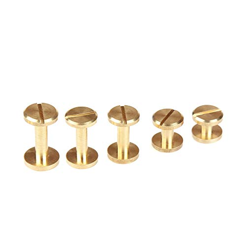 (WUTA Solid Brass Flat Head Button Stud Screw Nail Rivet Chicago Screw Leather Belt for Sewing Handmade DIY Accessories,10 Packs(10mmX5mm))