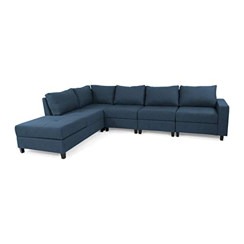 Kama Chaise Sectional Sofa Set, 5-Seater, Hidden Storage Compartments, Modern, Navy Blue