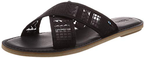 TOMS Women's Viv Sandals Black Arrow Embroidered Mesh 7.5 -