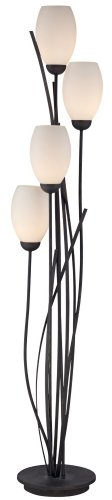 Black Metal And White Glass Tulip 4 Light Floor Lamp Noticeable