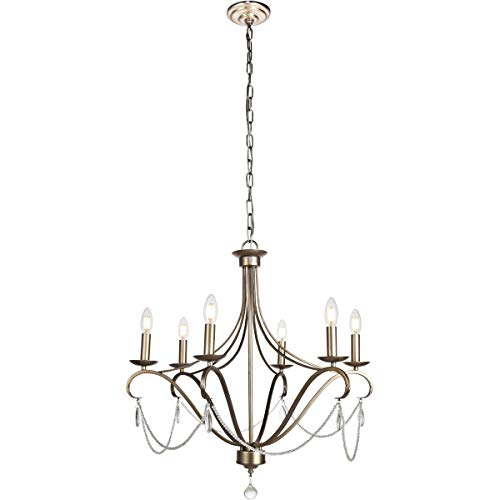 - Chandeliers 6 Light Fixtures with Antiqued Silver Finish Iron/Crystal Material E12 Bulb 26