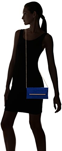 SwankySwans - Sabrina Suede Look Party Prom Clutch Bag, Sacchetto Donna Blue (Royal Blue)