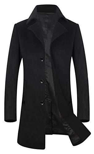 (ELETOP Men's Wool Coats Single Breasted Trench Coat Windbreaker Jacket 1871 Black L)