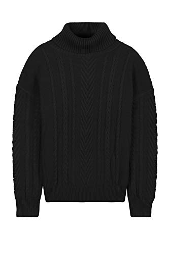 Pink Queen Women's 100% Cotton Turtleneck Aran Ribbed Cable Knit Pullover Sweater Black M