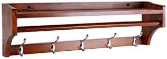 陳列棚は フローティングウォールシェルフ多機能壁掛け木製寝室のコートラックフックフレーム収納とぶら下げ2 in 1デザイン79.8×15×20 cm DWWSP