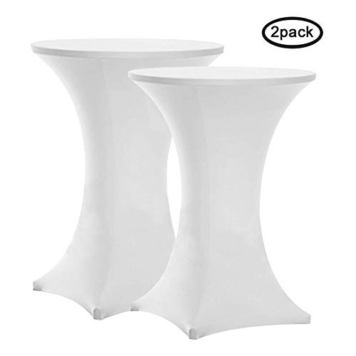 (Tina's 2 Pack 32x43 Cocktail Spandex Stretch Square Corners Tablecloth (2PC 32x43 White))