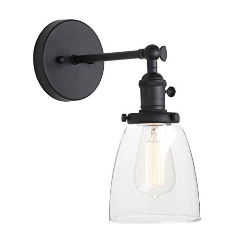 (Pathson Vintage Wall Sconce with On Off Switch, Clear Glass Shade Black Vanity Light, Indoor Wall Lighting Fixtures for Bathroom Bedside Garage Porch Cafe Club)