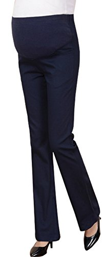 Foucome Womens Maternity Bootcut Stretch Career Dress Pants Work Office Over-Bump Trousers Navy Blue, Fit Waist 32.3''/Fit Weight 60KG/Tag M by Foucome