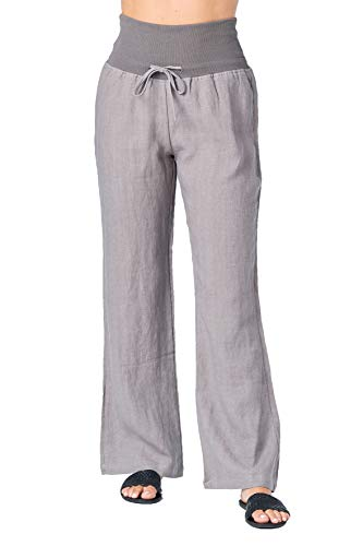Mariyaab Women's Wide Leg Fold Over 100% Linen Pants with Drawstring tie