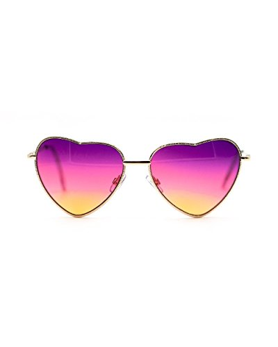 Sunset Heart - iHeartRaves Metal Frame Sunset Heart Gradient Sunglases (Purple)