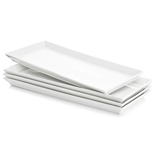Sweese 3303 Rectangular Porcelain Platters/Trays for Parties - 12.9 Inch, Set of 4, White