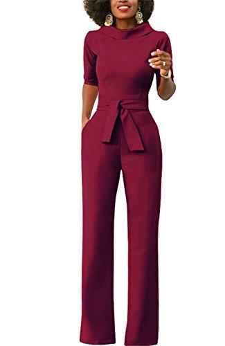 Pants Suit - KISSMODA Women's Sexy Work Jumpsuits Wide Leg Long Romper Pants With Belt Wine Red X-Large