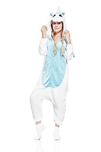 Adult Blue Unicorn Onesie Pajamas Kigurumi Animal Cosplay Costume Onsie Fleece Pjs (M, white, blue)