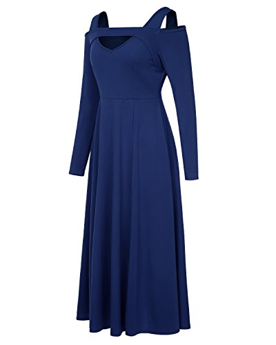 Neck Mixfeer Women's Cold Party Split Blue Long Sexy Maxi Shoulder Cocktail Dark Sleeve Long V Dress qwq1WpUa