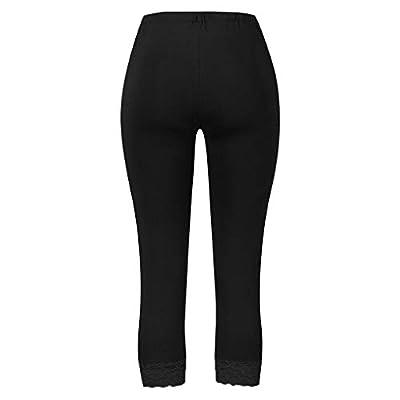 2020 Hot!! Women's Capri Tights Pants, Ladies Fashion Plus Size Cropped Leggings Stretch Lace Trim Soft Pants: Clothing