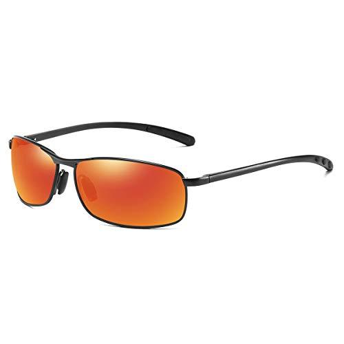 - ZHILE Rectangular Polarized Sunglasses Al-Mg Alloy Temple Spring Hinge UV400 (Black, Orange Red)