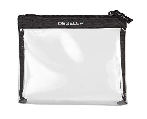 DEGELER TSA Approved Clear Travel Toiletry Bag for Carry On Luggage; Airport Airline compliant Travel with Cosmetics & Makeup bag for Women and Men