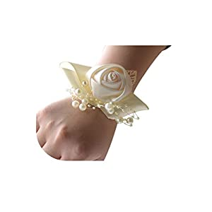 Satin Wedding Wedding Corsage Wrist Flower Pink Yellow Silver for Bridesmaid 96