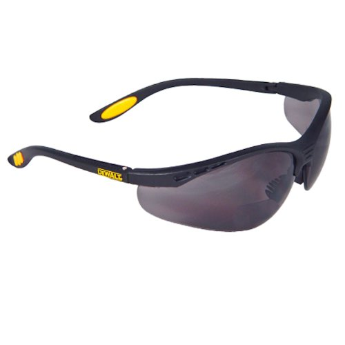 Dewalt DPG59-220C Reinforcer Rx-Bifocal 2.0 Smoke Lens High Performance Protective Safety Glasses with Rubber Temples and Protective Eyeglass - Smoke Googles