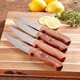 The Pioneer Woman Cowboy Rustic Set of 4 Steak Knifes, Red Rosewood