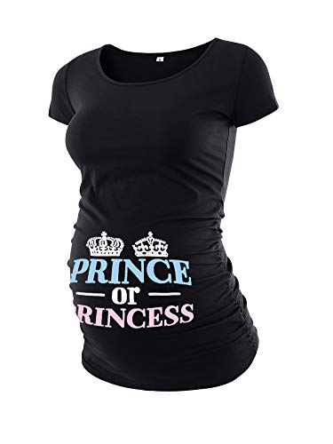 Liu & Qu Womens Maternity Prince Or Princess Classic Funny T-Shirt Tops Mama Pregnancy Novelty Clothes