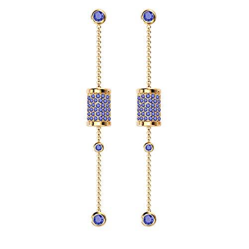 Spindle Drop Dangle Earrings for Women SKA Jewelry Sleeping Beauty Blue Cubic Zirconia Long Chain Stud Earrings Yellow Gold Plated