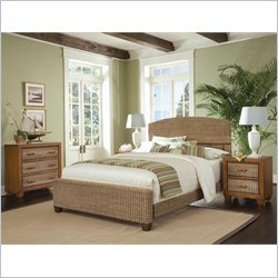 Home Styles Cabana Banana Queen Natural Woven Bed 3 Piece Bedroom Set in Honey Finish
