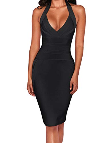 - UONBOX Women's Sexy Halter V Neck Knee Length Party Rayon Bodycon Bandage Dress (Black, L)